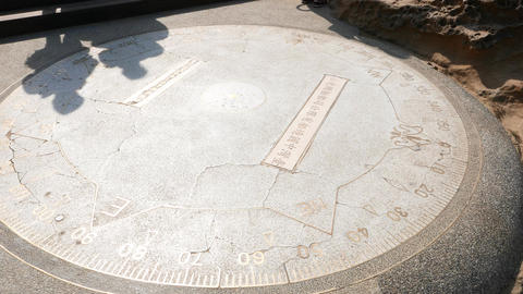 Metallic Outline Symbols, Sculpture On Stone Pavement, Compass And Azimuth stock footage