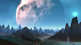 Huge planet and sharp peaks of mountains Animation