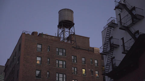 Water tower on a New York City building Footage