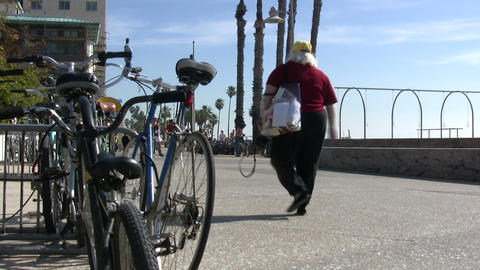Bicycles on Beach, Santa Monica State Beach Footage
