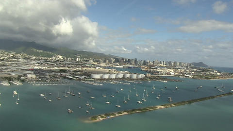 Aerial View Of Harbor stock footage