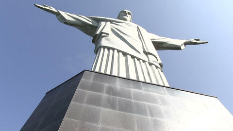 Low Angle View Of Christ The Redeemer Statue stock footage