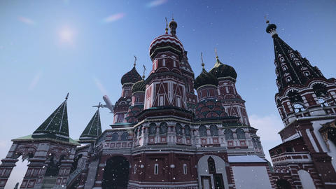 Plane Passing At The Cathedral Of Vasily The Blessed In Moscow, Russia Footage stock footage