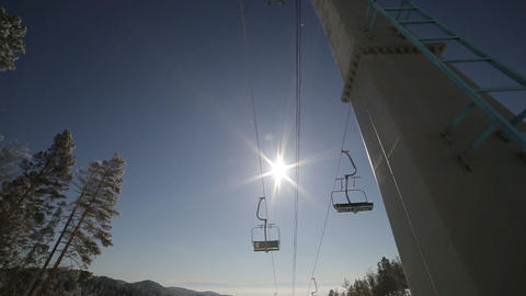 Ski lift winter sun Footage