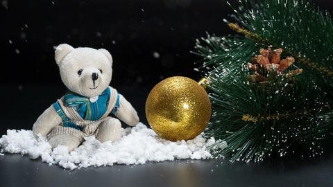 Christmas bear ball and Happy New Year Background snowfall Footage