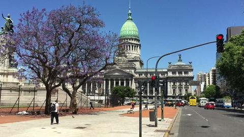 Argentinian Congress building street view Footage