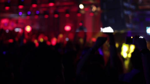 Music Concert In Club 06. Spectators Clap Their Hands During A Music Concert Org stock footage