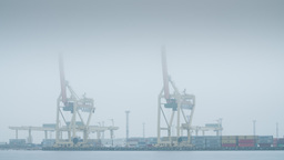 Harbour Cranes Shifting Containers On A Misty Winter Day stock footage