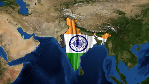 India Map And Flag From Space Zoom stock footage