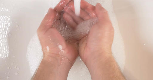 Washing Hands In Sink With Soap To Clean Skin For Good Hygiene stock footage