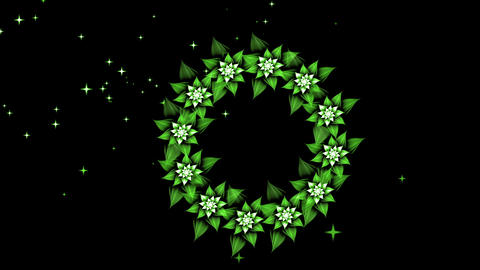 Floral Wedding Wreath of White Flowers Animation