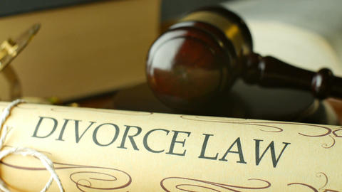 Divorce court law justice litigation concept with gavel and hammer Footage