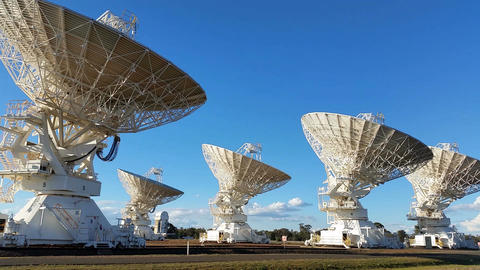 Satelite Dishes - Radio Telescope Compact Array - Space Science stock footage