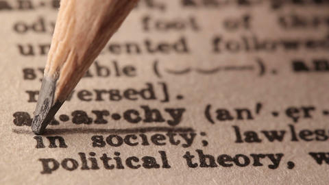 Anarchy - Fake Dictionary Definition Of The Word With Pencil Underline stock footage