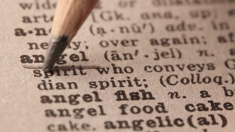 Angel - Fake Dictionary Definition Of The Word With Pencil Underline stock footage