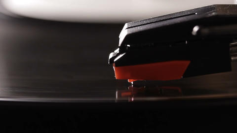 Close Up Of Vinyl Record On DJ Turntable Record Player stock footage