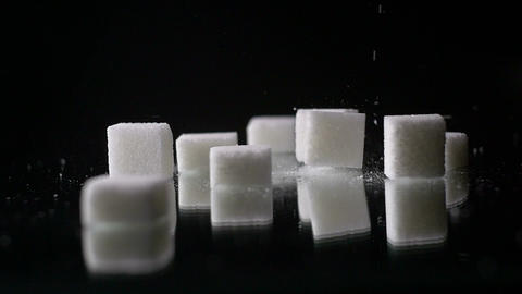 White Palm Sugar Cubes Glucose Sweetener Slowmo stock footage
