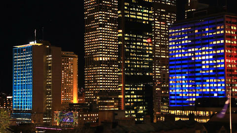 Sydney City Building Skyline Night Timelapse establishing shot Vivid Festival Footage