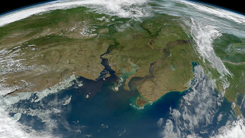 The Earth - Ob And Yenisei Rivers In North-central Russia From Space stock footage